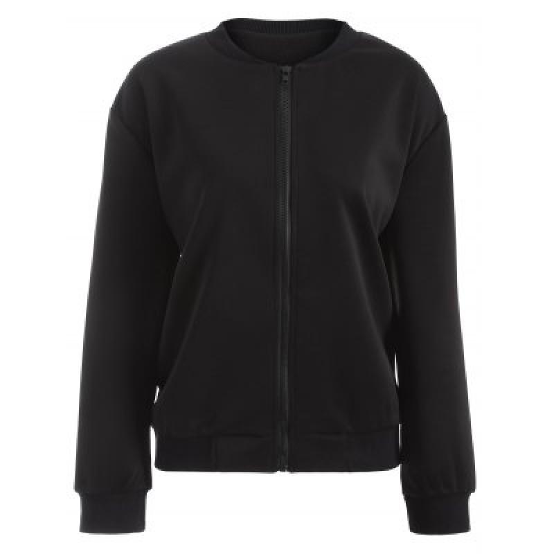 Plus Size Drop Shoulder Zipper Up Jacket