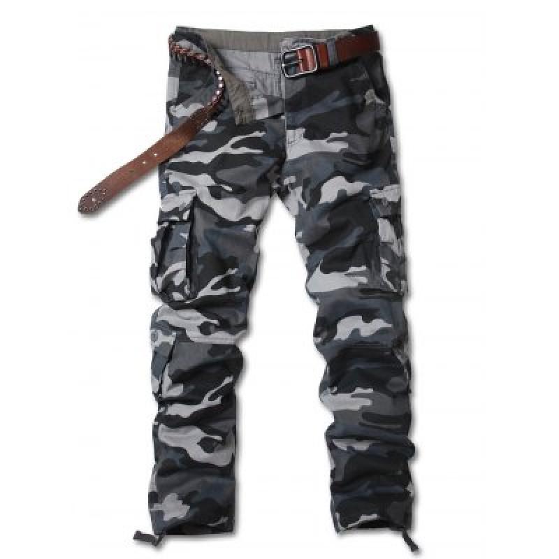 Zipper Fly Straight Leg Camouflage Pockets Embellished Cargo Pants