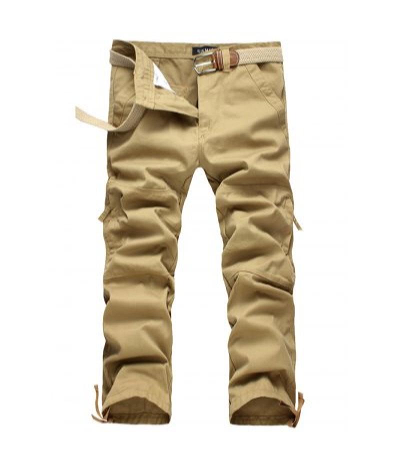 Zipper Fly Straight Leg Splicing Pockets Cargo Pants