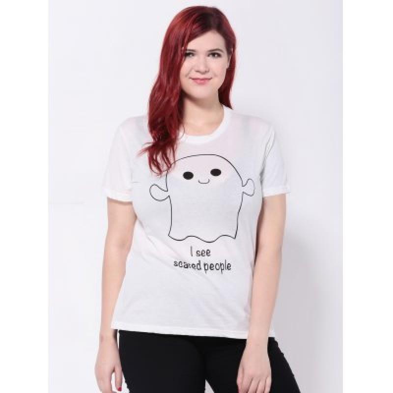 Short Sleeves Cartoon Letter Print T-Shirt