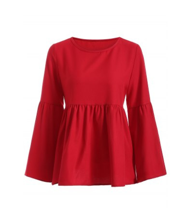 Flare Sleeve Ruched Loose Blouse