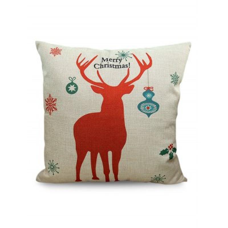 Merry Christmas Deer Printed Sofa Decorative Pillow Case
