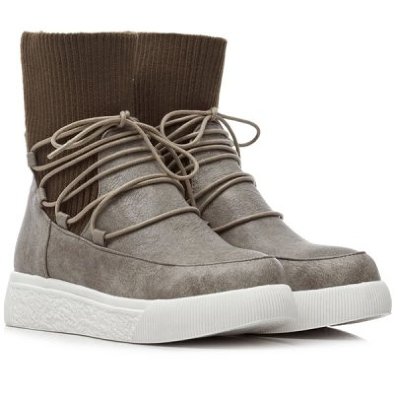 Lace-Up Platform Knitted Sock Boots