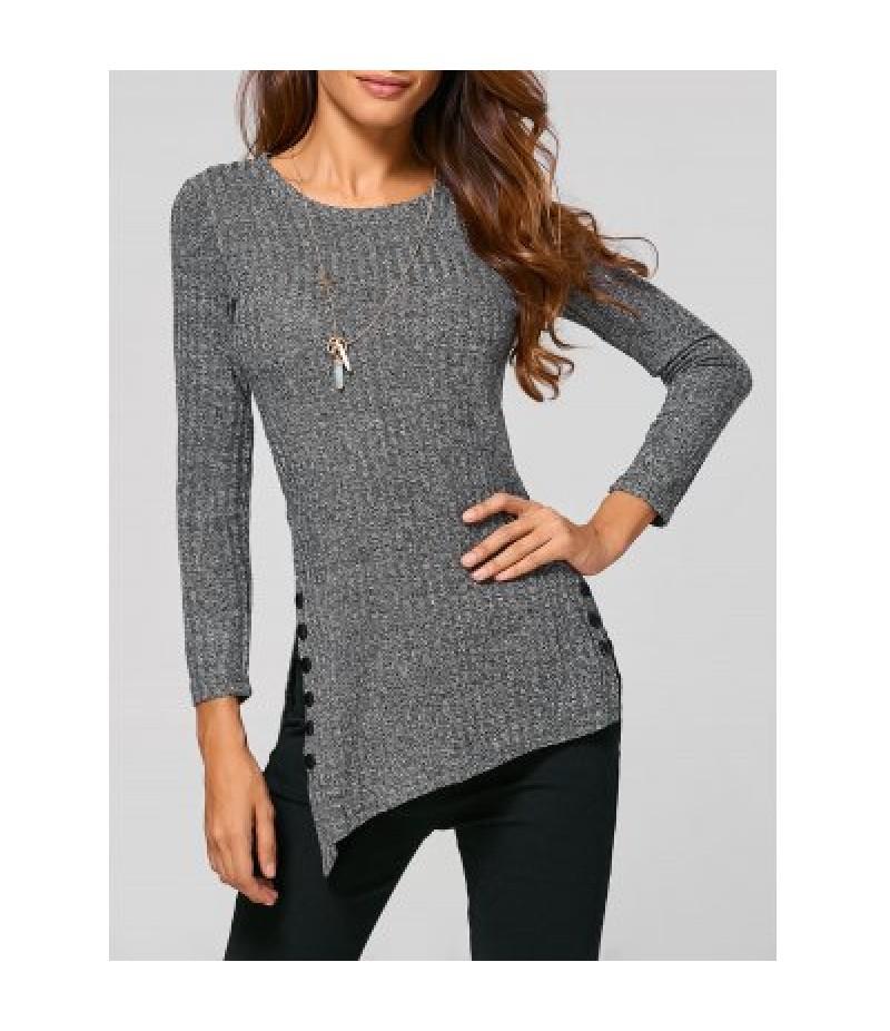 Asymmetric Buttoned Knitwear