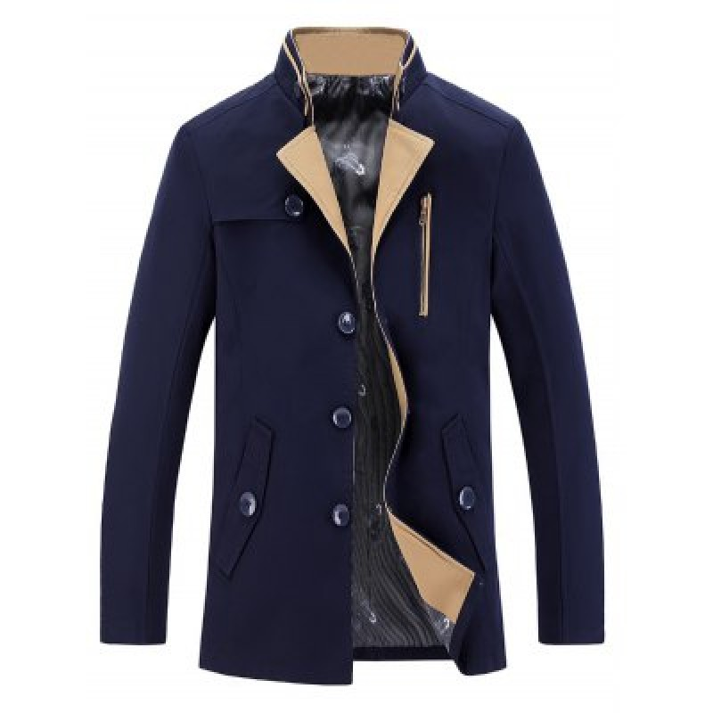 Stand Collar Single-Breasted Zipper Embellished Coat