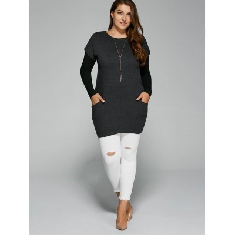 Plus Size Pockets Design Twinset T-Shirt