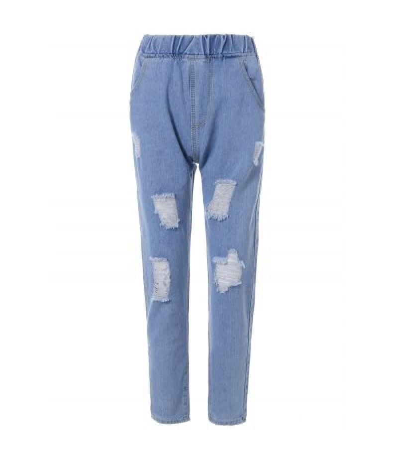 Elastic Waist Ripped Light Jeans