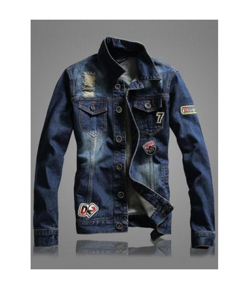 Letter Number Embroidery Distressed Denim Jacket