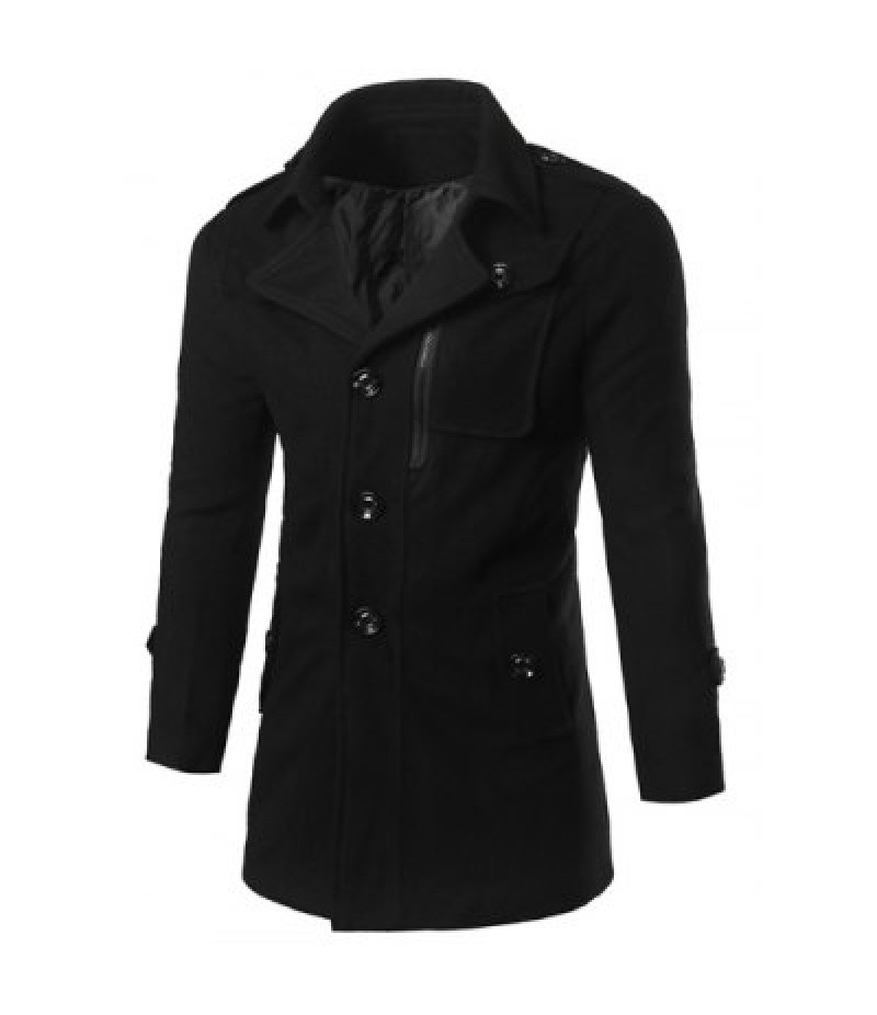 Epaulet Design Zippered Single Breasted Coat