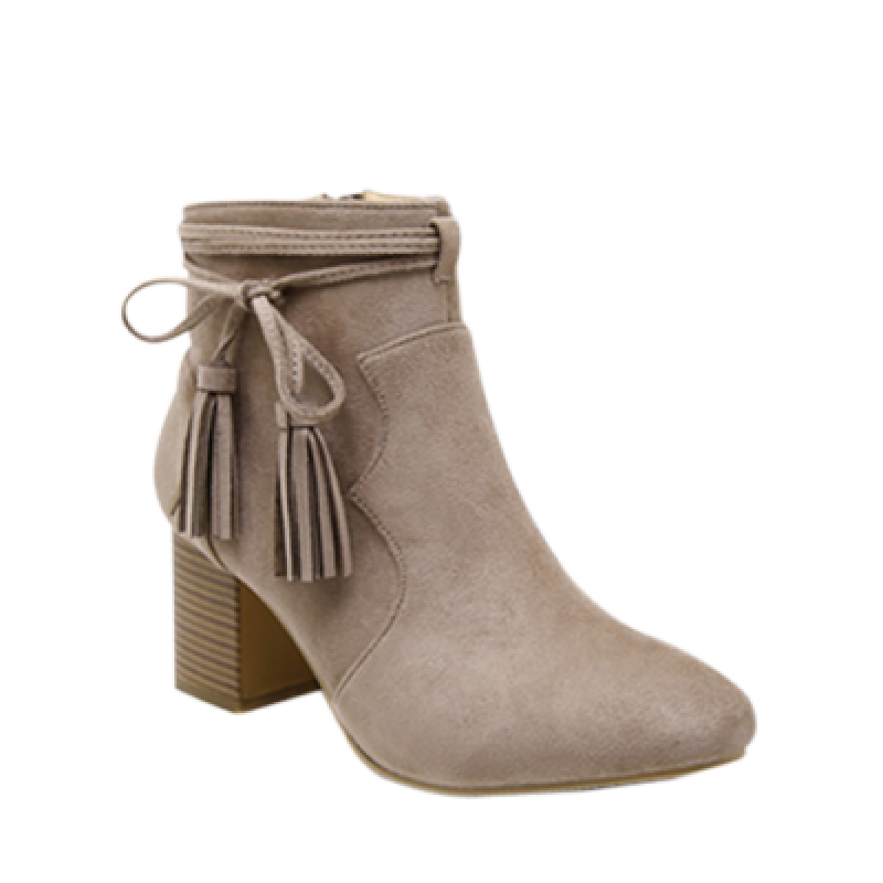 Chunky Heel Tassels Zipper Ankle Boots