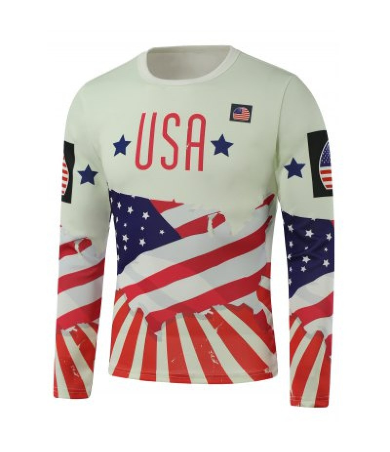 Crew Neck USA Flag Star Print Long Sleeve Sweatshirt