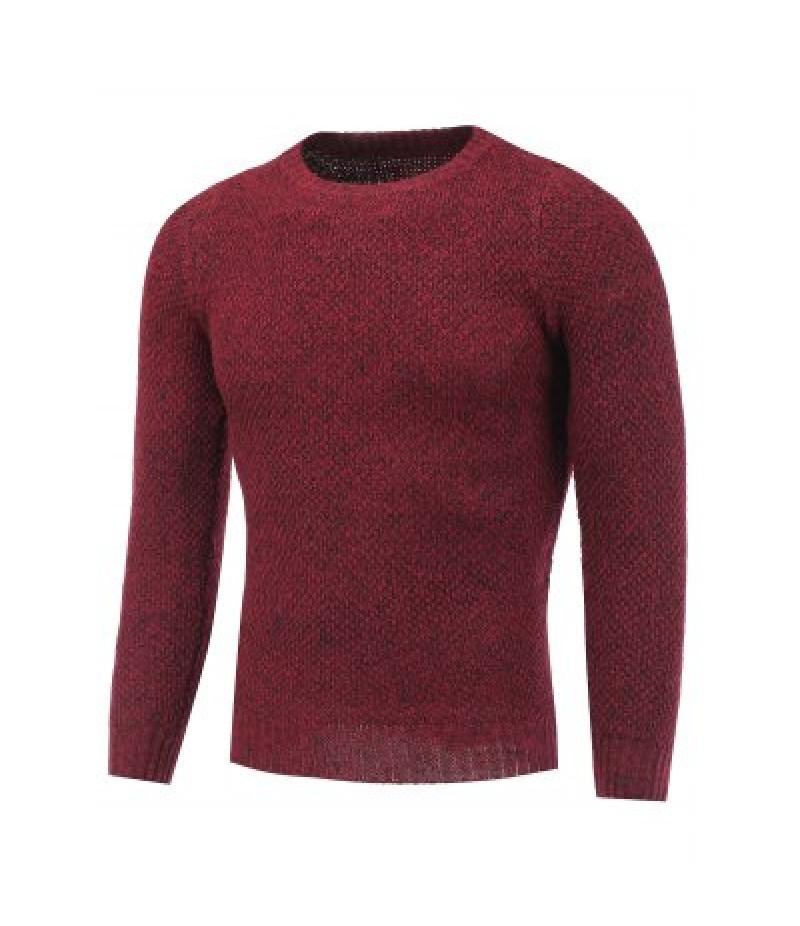Crew Neck Heather Tweed Pullover Sweater