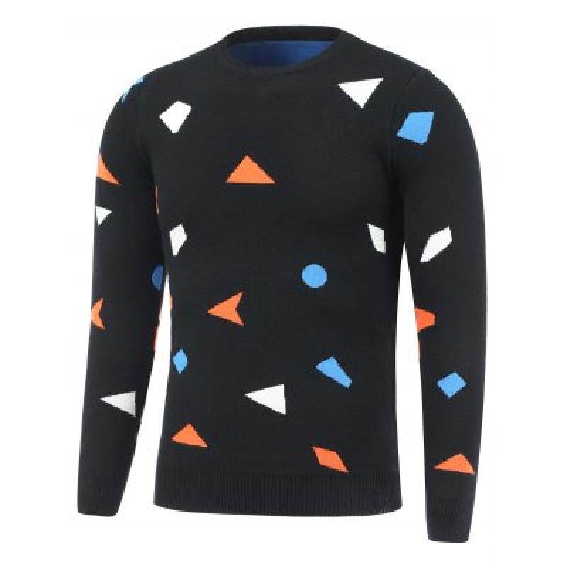 Crew Neck Geometric Pullover Knitwear