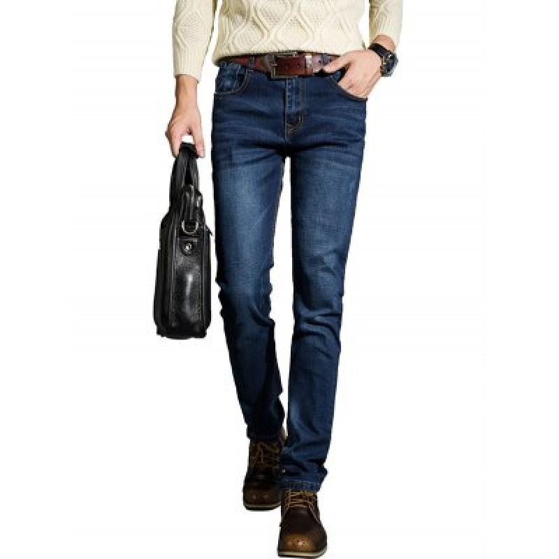 Zipper Fly Plus Size Basic Slimming Straight Leg Jeans