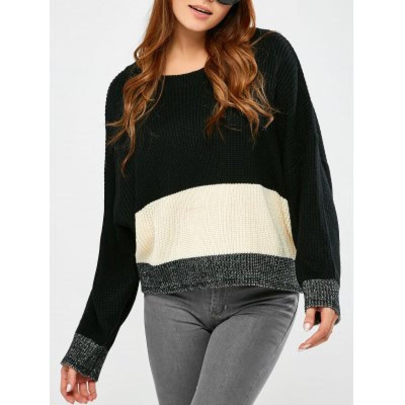 Round Collar Color Block Pullover Sweater