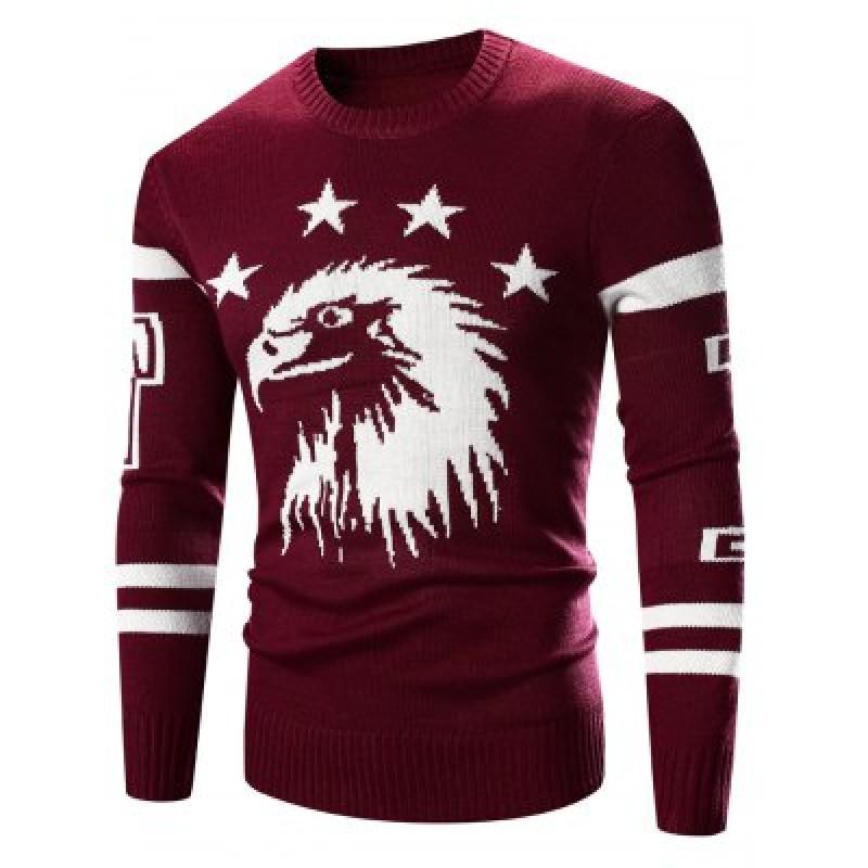 Crew Neck Eagle Pattern Varsity Stripe Long Sleeve Sweater