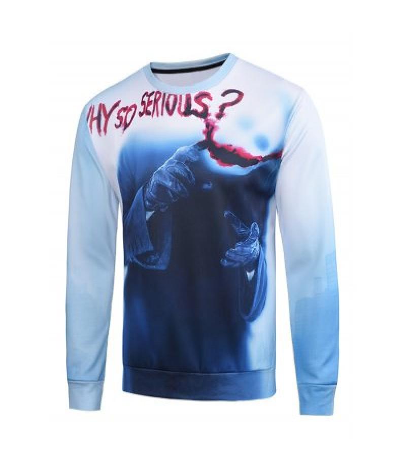 3D Clown Blood Hands Printed Long Sleeve Holloween Sweatshirt