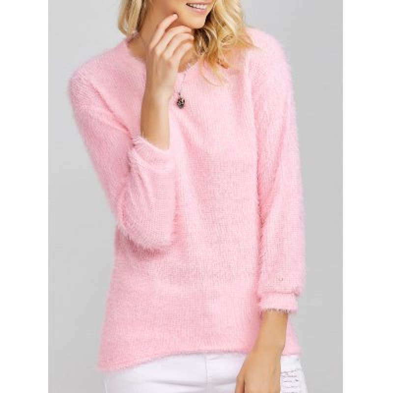 Drop Shoulder Long Fuzzy Sweater