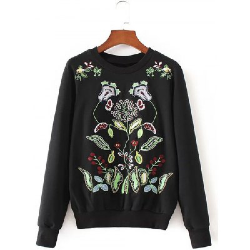 Crew Neck Flower Embroidered Pullover Knit Sweater
