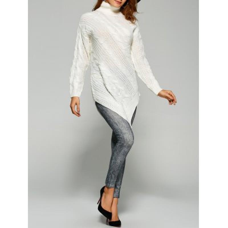 Pullover Turtleneck Asymmetrical Sweater