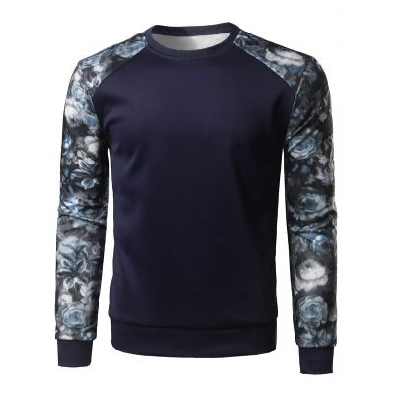 Floral Print Color Block Spliced Long Sleeve Sweatshirt