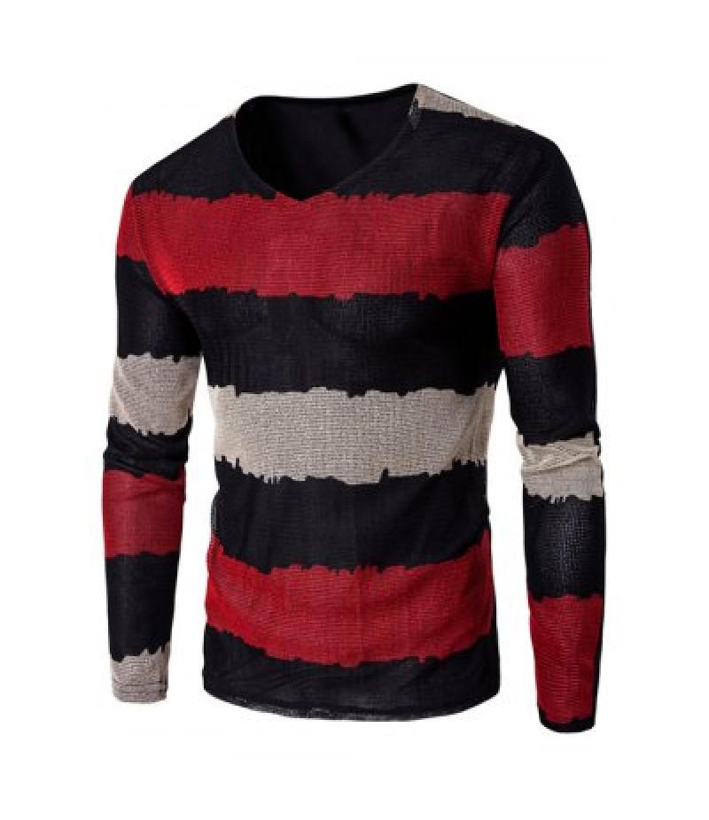V Neck Long Sleeve Striped T Shirt