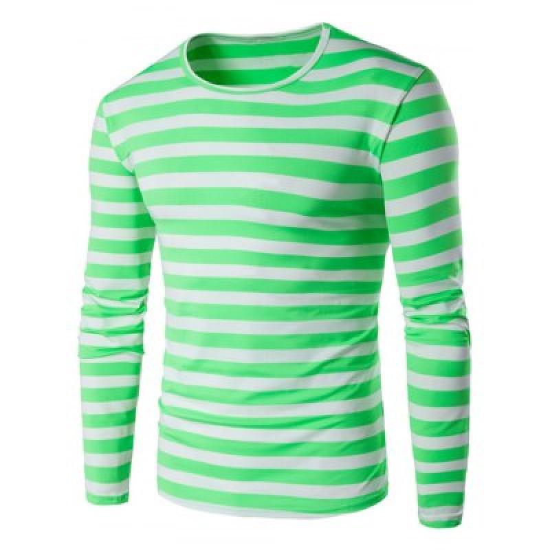 Green Striped Long Sleeve T Shirt