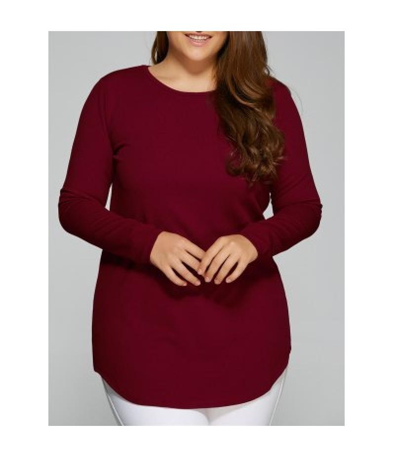 Plus Size Arc-Shaped Hem T-Shirt