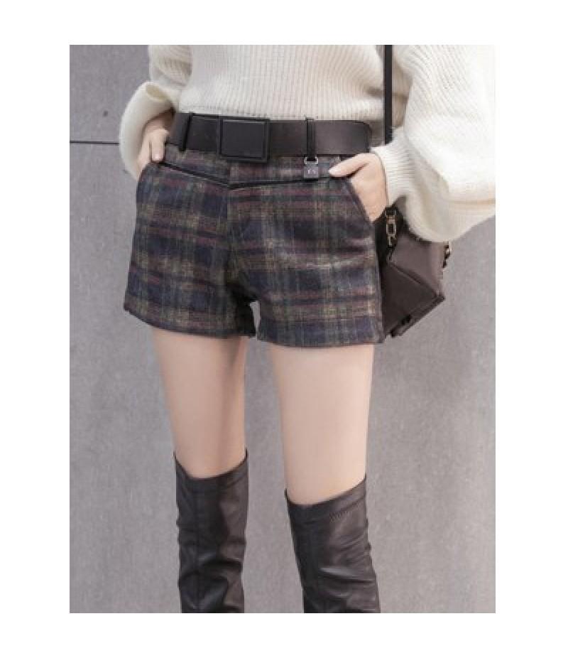 Checked Woolen Mini Capri Shorts