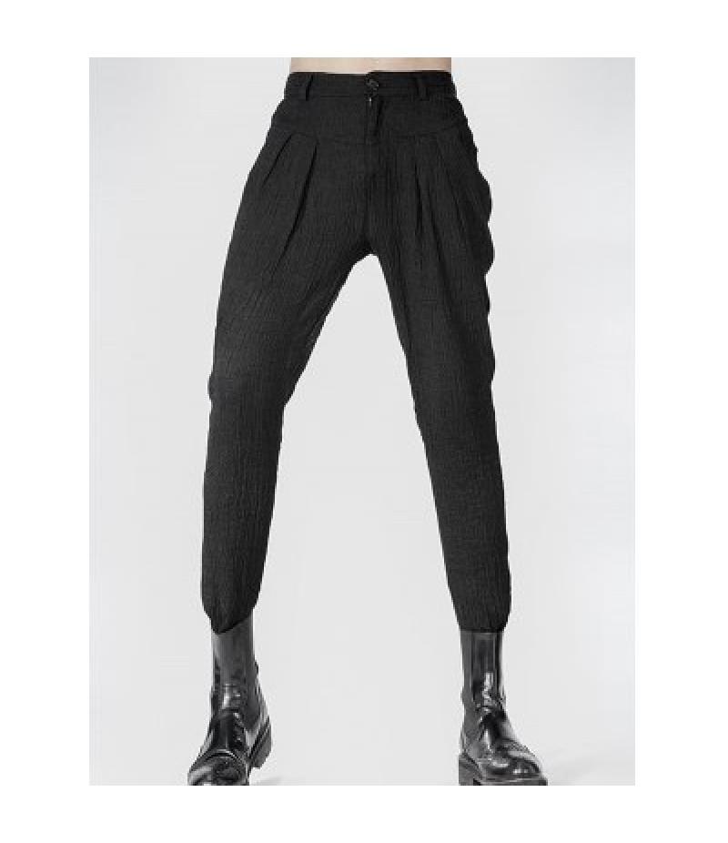 Narrow Feet Zipper Fly Pleated Texture Pants