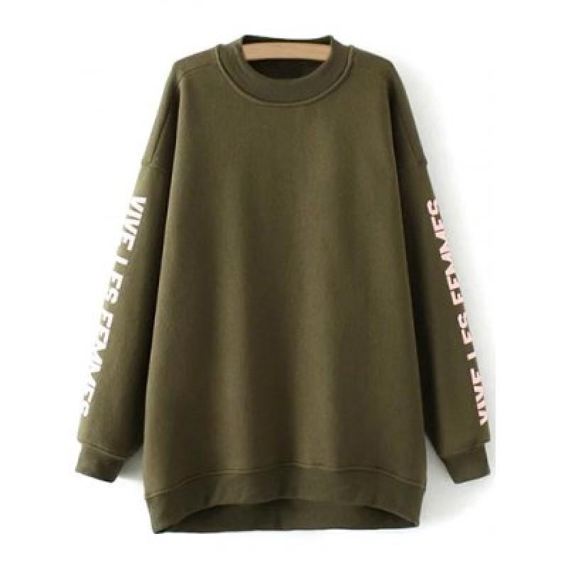 Crew Neck Fleece Letter Pattern Sweatshirt