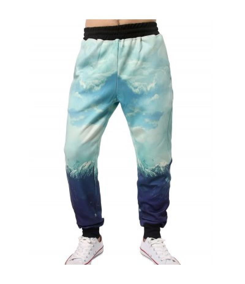 3D Graphic Sky Print Jogger Pants