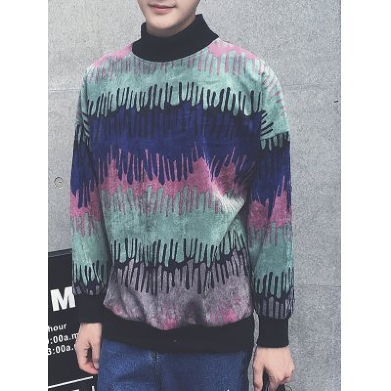 Color Block Splatter Paint Long Sleeve Sweatshirt