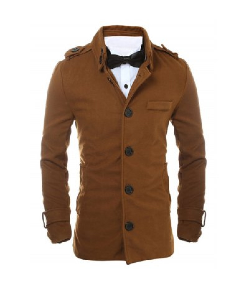 Epaulet Design Button Up Woolen Jacket