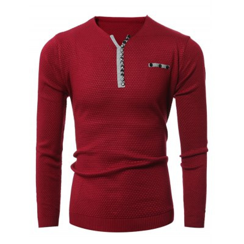 Notch Neck Button Embellished Texture Sweater