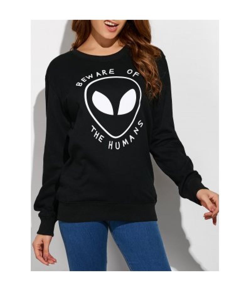 Alien Letter Casual Funny Sweatshirt