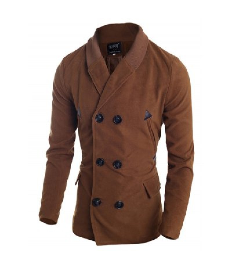 Ribbed Shawl Collar Back Vent Double Breasted Jacket