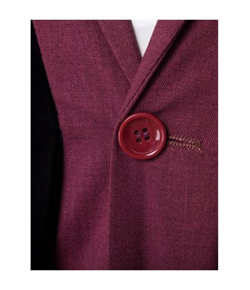 Velvet Splicing Design One Button Blazer