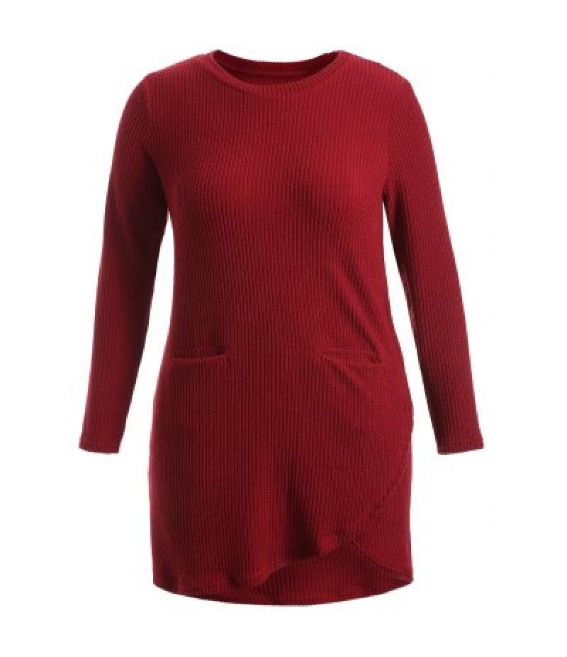 Asymmetric Pockets Long Sleeve Dress