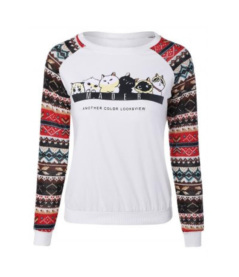 Raglan Sleeve Cartoon Cat Sweatshirt
