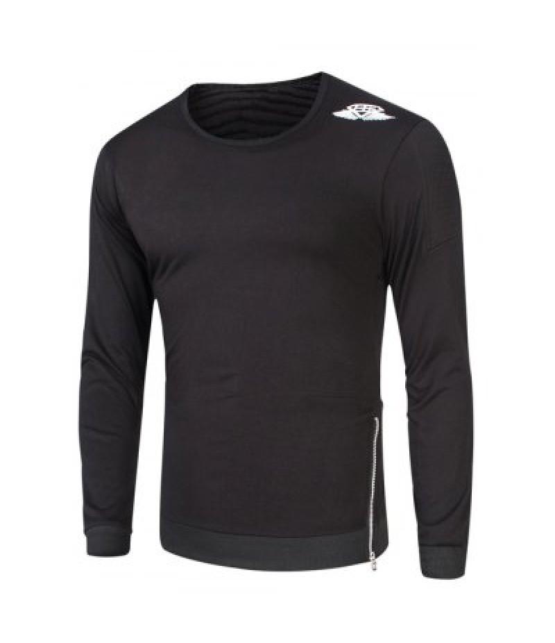 Crew Neck Side Zipper Design Wing Print Sweatshirt