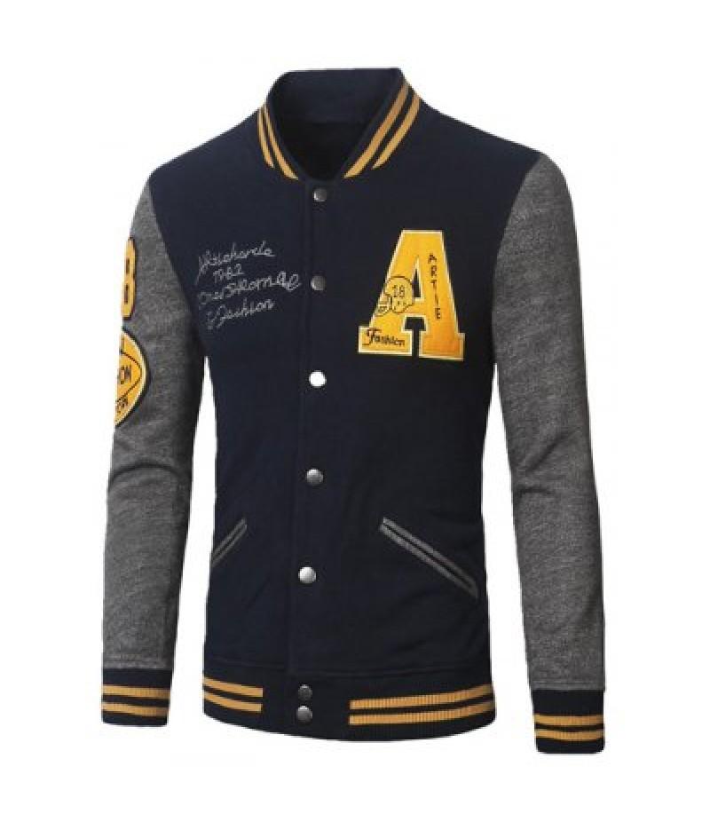 Stand Collar A Pattern Rib Spliced?Baseball Jacket