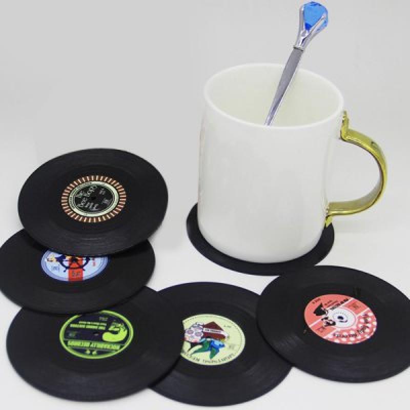 6 Pcs/ Set Retro CD Record Shapes Heat Insulation Cup Mat