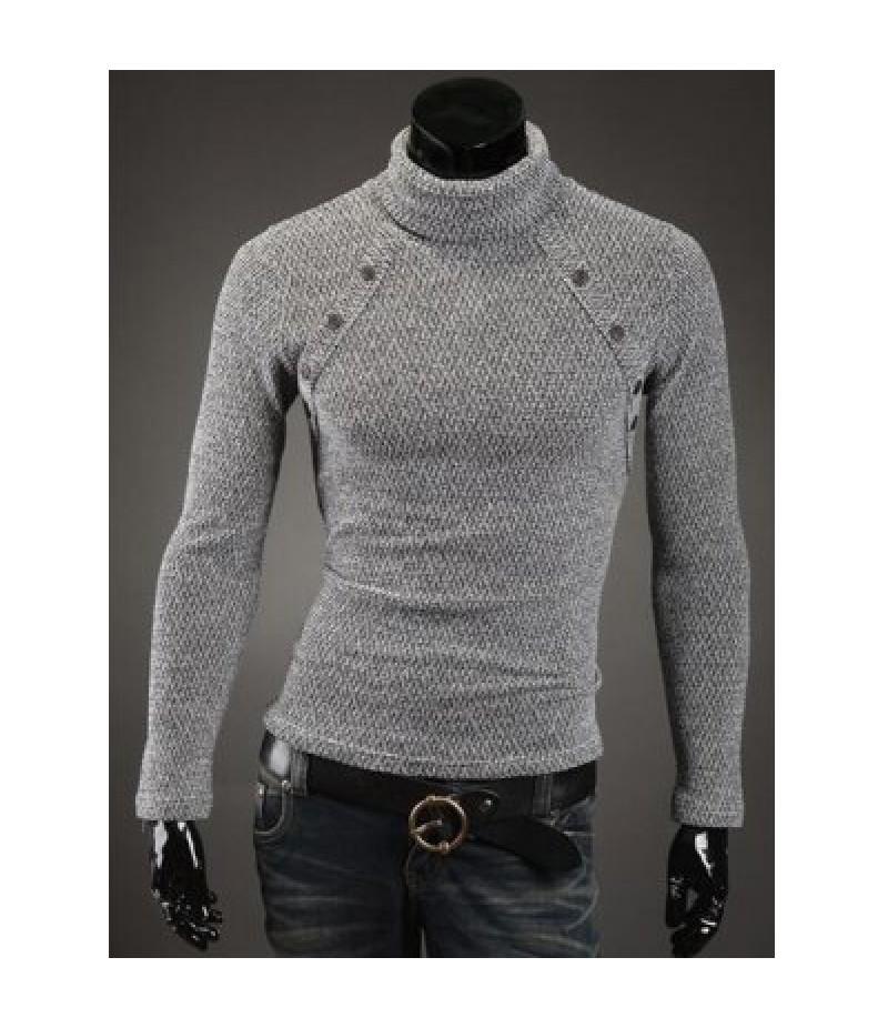 Button Embellished Turtleneck Sweater