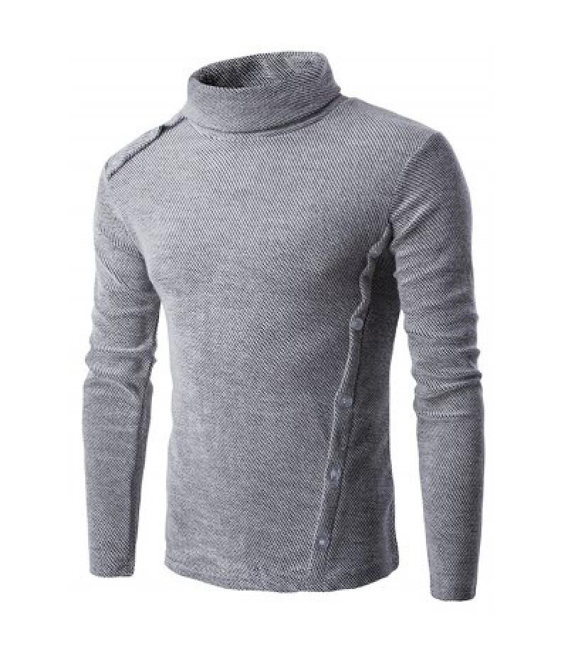 Asymmetric Adorn Button Turtleneck Sweater