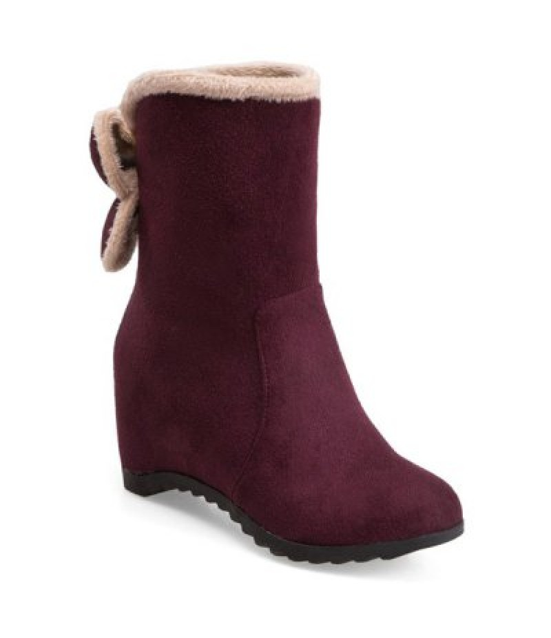 Bow Mid Calf Hidden Wedge Boots