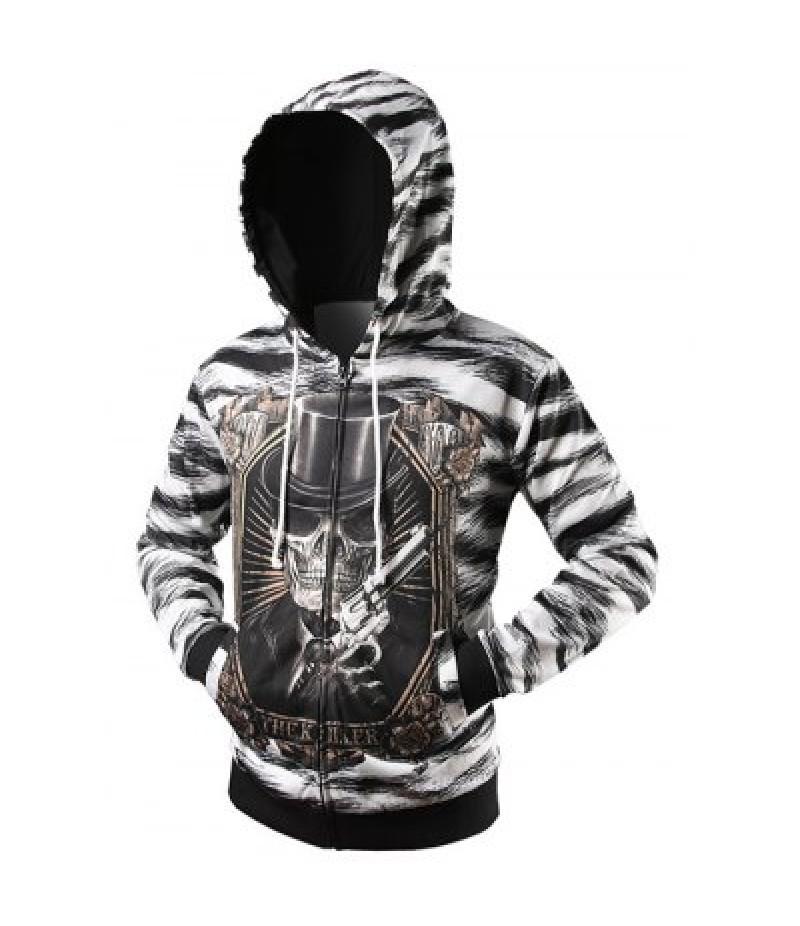 Zebra Striped Graphic Cool Zip Up Hoodies for Men