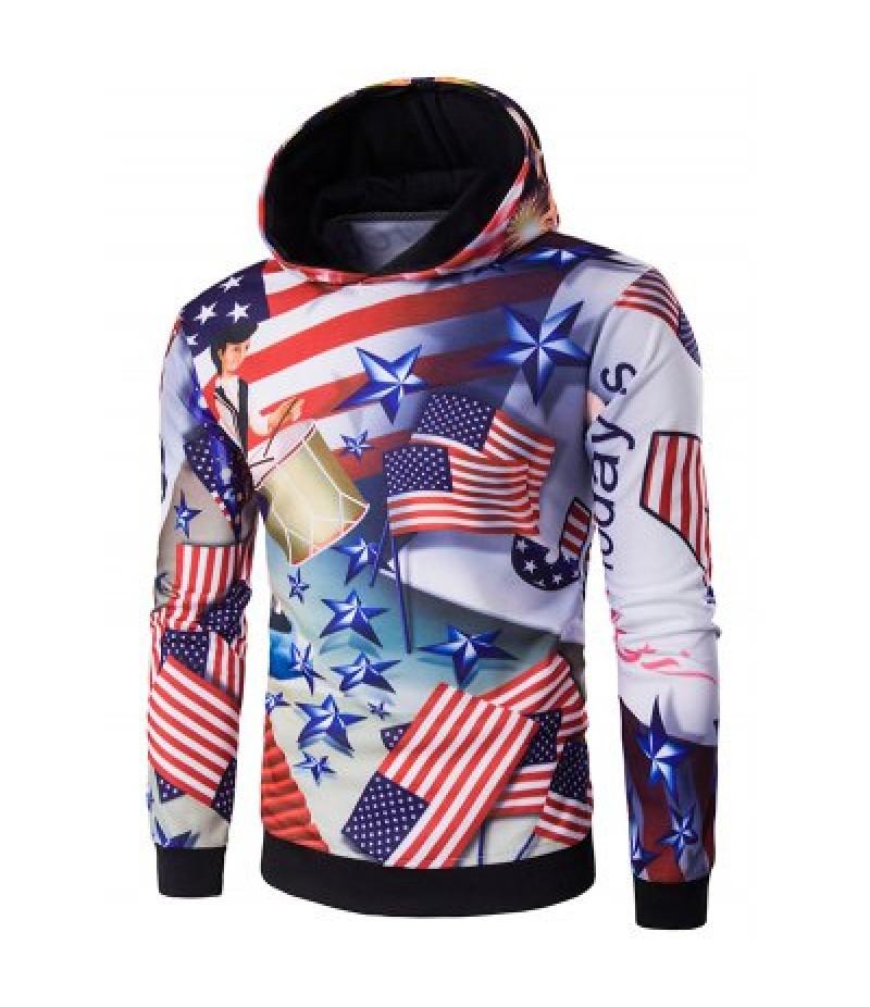 3D American Flag Star Printed Pullover Hoodie