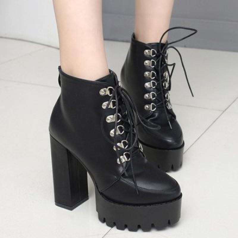 High Heel Lace Up Platform Ankle Boots