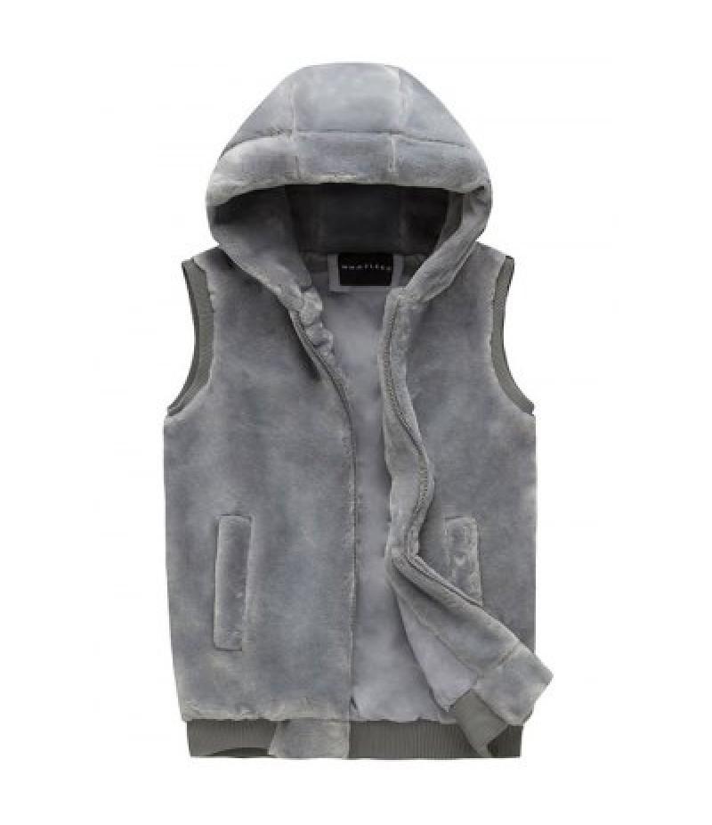 Zip Up Faux Fur Hooded Vest